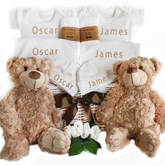 Twins Personalised Baby Gift Basket
