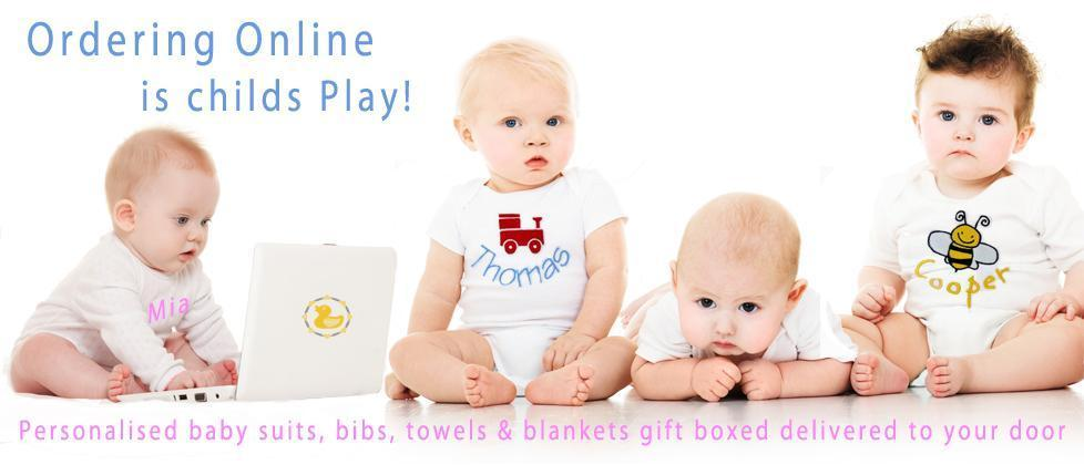 personalised baby body suits bibs