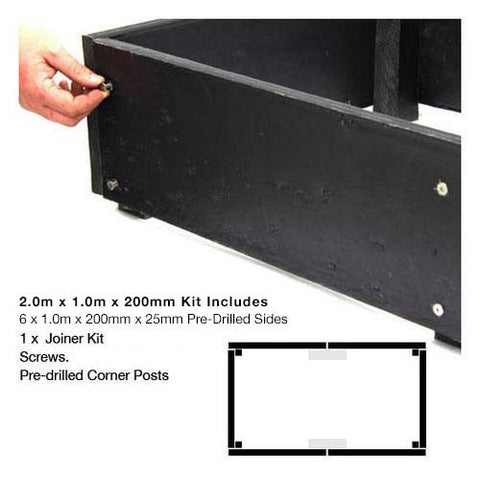 eWood Raised Garden Bed Kits - 2.0m x 1.0m
