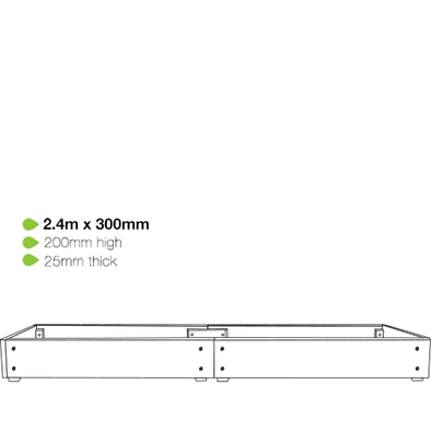 eWood Raised Garden Bed Kits - 2.4m x 0.3m