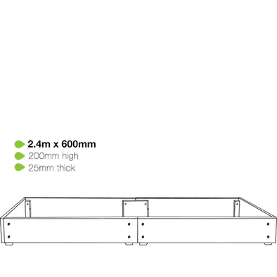 eWood Raised Garden Bed Kits - 2.4m x 0.6m