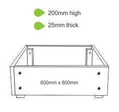 eWood Raised Garden Bed Kits - 0.6m x 0.6m
