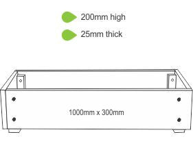 eWood Raised Garden Bed Kits - 1.0m x 0.3m