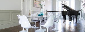 Large Oval Marble Tulip DIning Table with Six Tulip Side Chairs with Grey Cushions & Piano