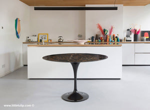 The beauty of the Saarinen Tulip Table in natural Portoro Marble is unrivalled