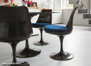 The 120cm Black Tulip dining set has Marble table and 4 side chairs with blue cushions