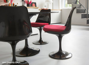 The 120cm Black Tulip dining set has Marble table and 4 side chairs with red cushions