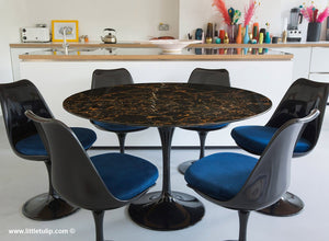 Set - 120cm Black Portoro Marble Circular Table & 6 Tulip Side Chairs
