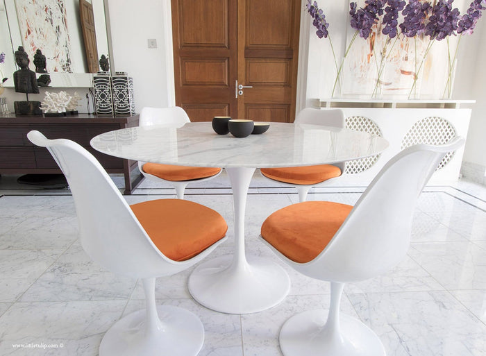 Set - 120cm White Carrara Marble Circular Table & 4 Tulip Side Chairs