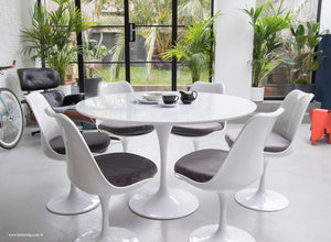 120cm White Tulip Table main view with 6 matching chairs with grey cushions