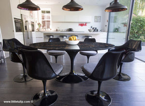 Set - 170cm x 110cm Black Portoro Marble Oval Table & 4 Tulip Side, 2 Tulip Arm Chairs