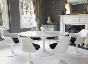 170cm dining set with 6 matching tulip chairs with black cushions