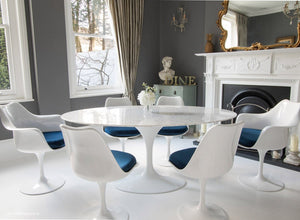 170cm dining set with 6 matching tulip chairs with blue cushions