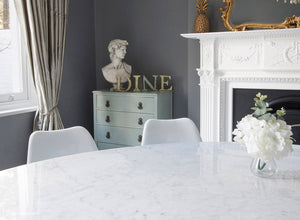 Carrara Marble oval Tulip Table top 170 long