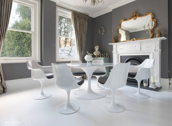 Set - 170cm x 110cm White Carrara Marble Oval Table & 4 Tulip Side, 2 Tulip Arm Chairs