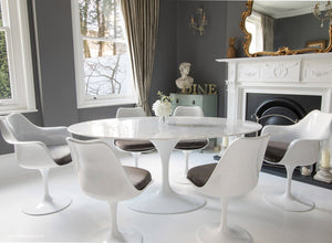 170cm dining set with 6 matching tulip chairs with grey cushions