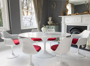 170cm dining set with 6 matching tulip chairs with red cushions