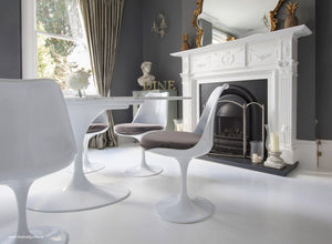 Tulip Side Chair with grey cushion in classic dining room setting