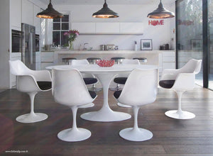 White 170cm table and chair set with black cushion