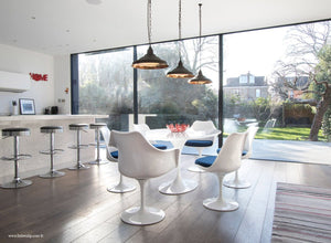 Room with the 170cm White table and chair set with blue cushion