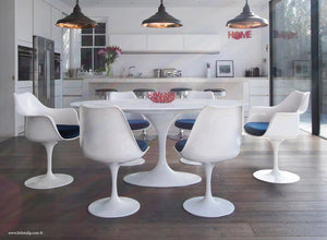 White 170cm table and chair set with blue cushion