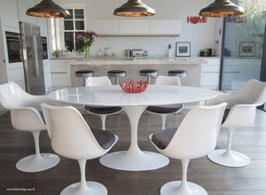 Main view of 170cm White table with four side and two tulip arm chairs with grey cushion