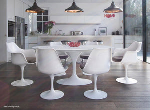White 170cm table and chair set with grey cushion