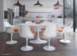 White 170cm table and chair set with orange cushion