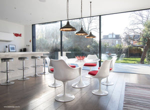 Room with the 170cm White table and chair set with red cushion