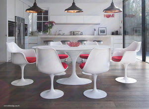 White 170cm table and chair set with red cushion
