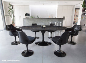 Classic Black Marble Tulip Table & Chairs with Black Cushions