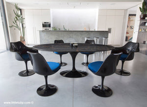 Large oval black Portoro 200 cm dining set with chairs in blue