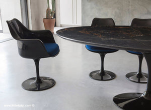 Classic Black Marble Tulip Table & Chairs with Blue Cushions