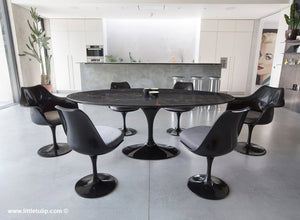 Large oval black Portoro 200 cm dining set with chairs in grey