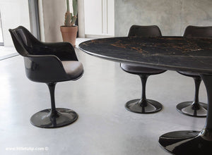 Classic Black Marble Tulip Table & Chairs with Grey Cushions