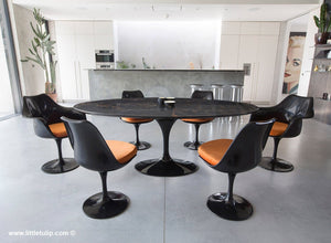 Large oval black Portoro 200 cm dining set with chairs in Orange