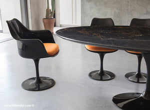 Classic Black Marble Tulip Table & Chairs with Orange Cushions