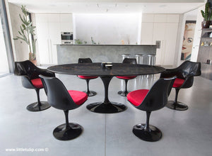 Large oval black Portoro 200 cm dining set with chairs in Red