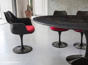 Classic Black Marble Tulip Table & Chairs with Red Cushions