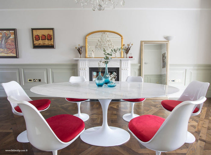 Set - 200cm x 120cm White Carrara Marble Oval Table & 6 Tulip Side Chairs