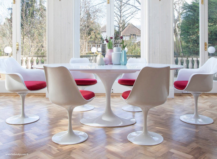 Set - 200cm x 120cm White Laminate Oval Table & 4 Tulip Side, 2 Tulip Arm Chairs