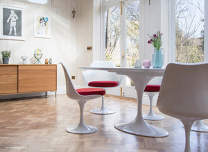 Wooden orangery floor, tulip chair with a red seat cushion