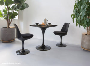The 90cm TUlip dining set is so versatile and the two chairs come with black cushions