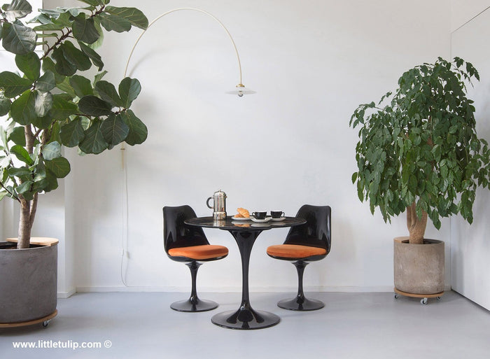 Set - 90cm Black Portoro Marble Circular Table & 2 Tulip Side Chairs