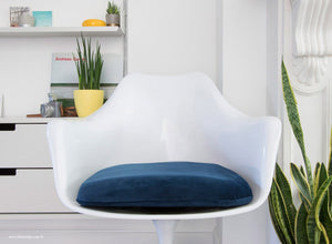 Close up view of the Tulip Arm Chair with blue cushion