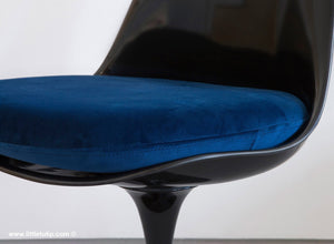 Our Saarinen Tulip Chairs shown with the luxurious soft to the touch blue cushions