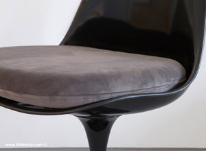 Our Saarinen Tulip Chairs shown with the luxurious soft to the touch grey cushions