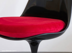 Our Saarinen Tulip Chairs shown with the luxurious soft to the touch red cushions