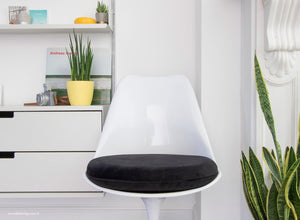 Close up view of Tulip Side Chair with black cushion