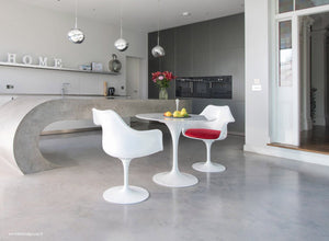 Set - 90cm White Carrara Marble Circular Table & 2 Tulip Arm Chairs